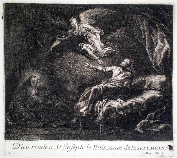 Joseph PARROCEL (Francia, 1646 – 1704) – DIEU REVELE À St JOSEPH LA NAISSANCE DE JESUS