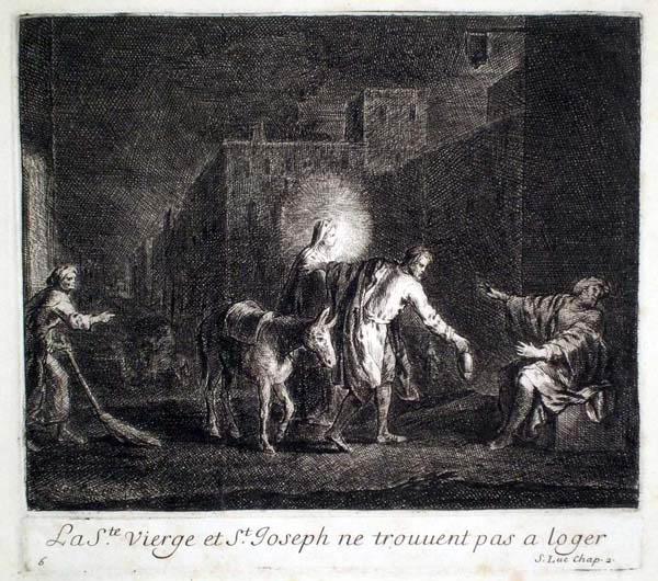 Joseph PARROCEL (Francia, 1646 – 1704) – LA Ste VIERGE ET St JOSEPH NE TROUVENT PAS À LOGER