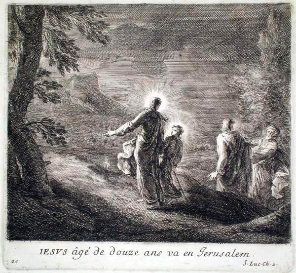 Joseph PARROCEL (Francia, 1646 – 1704) – JESUS AGE' DE DOUZE ANS VA EN JERUSALEM
