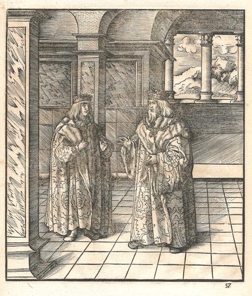Leonhard BECK (Baviera, circa 1480 – 1542) – IL PRIMO RE BIANCO AVVERTE SUO FIGLIO DI NON CONFIDARE NEL PARTITO FIAMMINGO