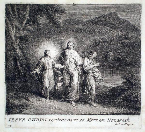 Joseph PARROCEL (Francia, 1646 – 1704) – JESUS-CHRIST REVIENT AVEC SA MERE EN NAZARETH