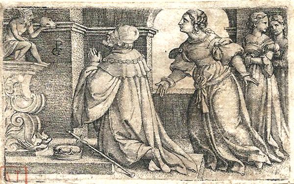 Georg PENCZ (Norimberga, 1500 – 1550) – SALOMONE ADORA GLI IDOLI (1531 circa)