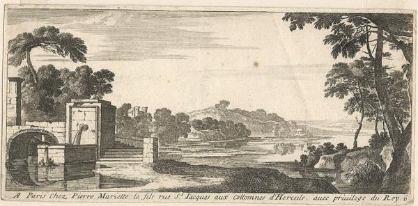 Gabriel PERELLE (Francia, 1603 – 1677) – PAESAGGIO CON FONTANA