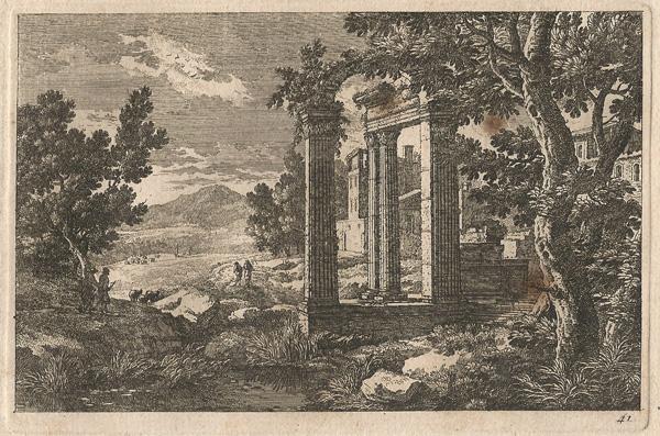 Adam PERELLE (Francia, 1638 – 1695) – PAESAGGIO CON ROVINE