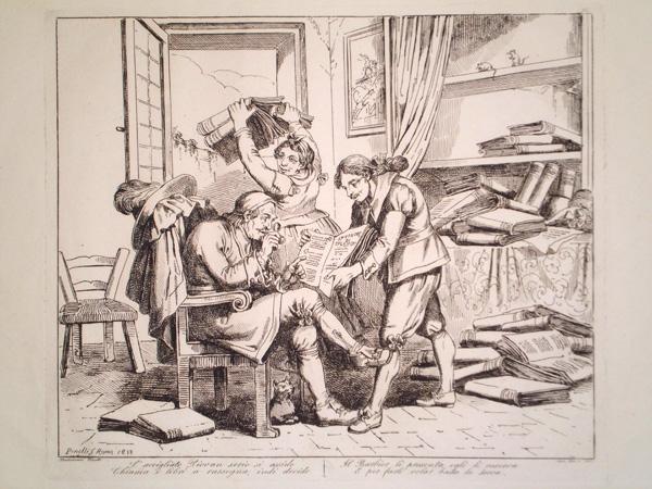 Bartolomeo PINELLI (Roma, 1781 – 1835) – L'ACCIGLIATO PIOVAN SERIO SI ASSIDE…