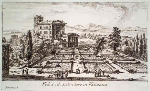 Giovambattista PIRANESI (Venezia, 1720 – 1778) – VEDUTA DI BELVEDERE IN VATICANO