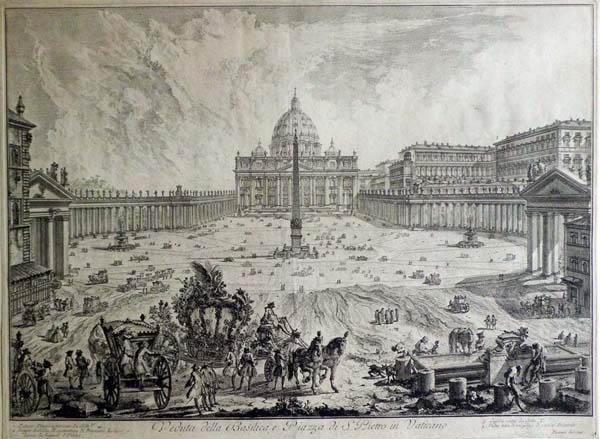 Giovambattista PIRANESI (Venezia, 1720 – 1778) – VEDUTA DELLA BASILICA E PIAZZA SAN PIETRO IN VATICANO (1748)