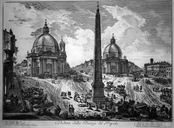 Giovambattista PIRANESI (Venezia, 1720 – 1778) – PIAZZA DEL POPOLO (1750)