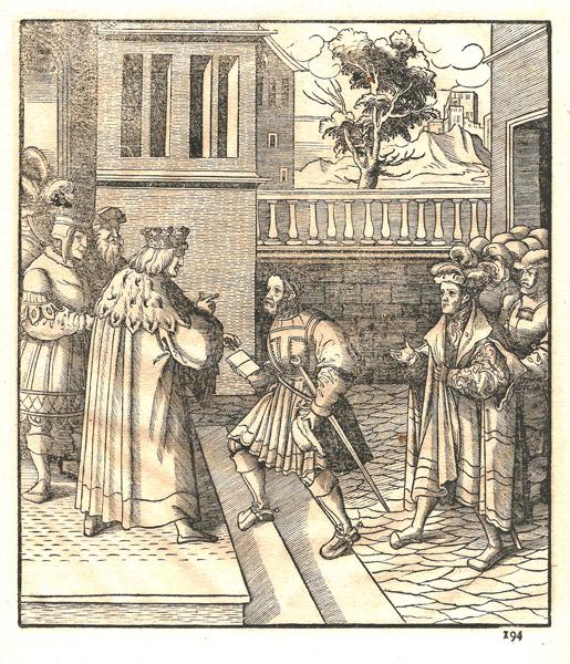 """Leonhard BECK (Baviera, circa 1480 – 1542) – MESSAGGIO DAL RE BIANCO PER IL RE """"ROSSO E BIANCO"""" E PER IL RE NERO"""