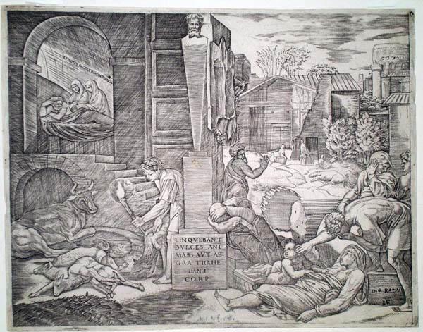 Marcantonio RAIMONDI (Bologna, 1480 c.a – 1530 c.a) – LA PESTE FRIGIA da Raffaello (1515-6)