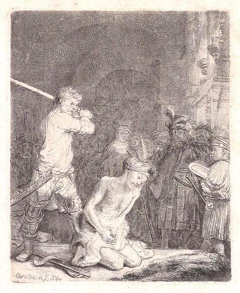Van Rijn REMBRANDT (Olanda, 1606 – 1669) – LA DECOLLAZIONE DEL BATTISTA (1640)