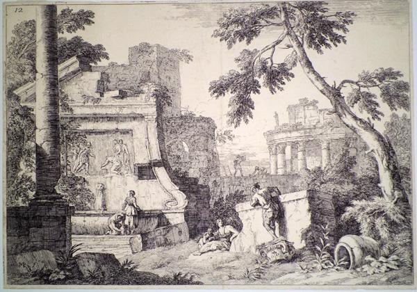 Marco RICCI (Belluno, 1676 – 1730) – CAPRICCIO CON ROVINE CLASSICHE, FONTANA E TEMPIO ROTONDO