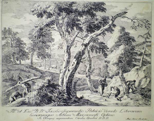 Marco RICCI (Belluno, 1676 – 1730) – PAESAGGIO CON CONTADINI E BOSCAIOLI