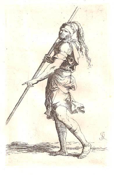 Salvator ROSA (Arenella, 1615 – 1673) – SOLDATO CHE CAMMINA APPOGGIANDOSI AD UN BASTONE