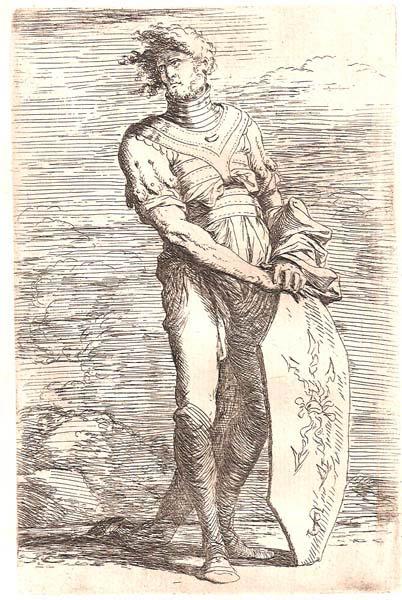 Salvator ROSA (Arenella, 1615 – 1673) – SOLDATO CON I CAPELLI AL VENTO APPOGGIATO ALLO SCUDO