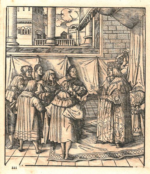 """Leonhard BECK (Baviera, circa 1480 – 1542) – IL RE BIANCO INVITA IL PARTITO """"ROSSO E BIANCO"""" E QUELLO NERO A PUNIRE IL RE BLU"""