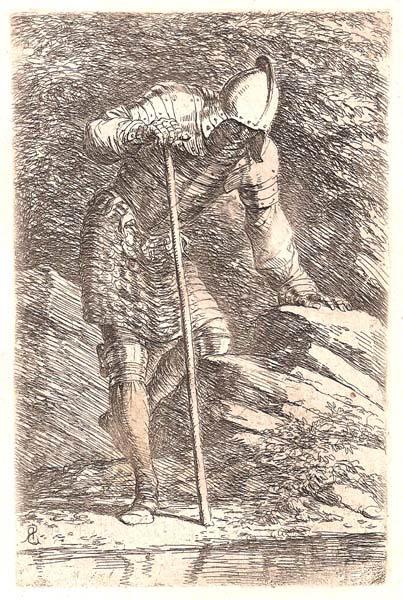 Salvator ROSA (Arenella, 1615 – 1673) – SOLDATO SULLA RIVA DI UNO SPECCHIO D'ACQUA