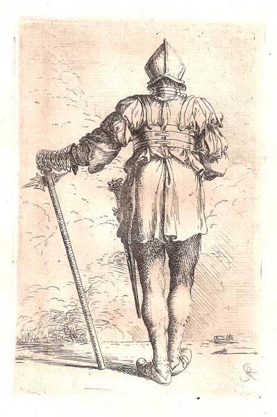 Salvator ROSA (Arenella, 1615 – 1673) – SOLDATO DI SPALLE CON LA SINISTRA APPOGGIATA AD UN MARTELLO D'ARME