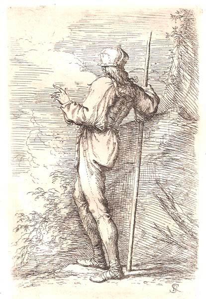 Salvator ROSA (Arenella, 1615 – 1673) – SOLDATO DI SPALLE APPOGGIATO AD UN'ASTA PRESSO UNA ROCCIA