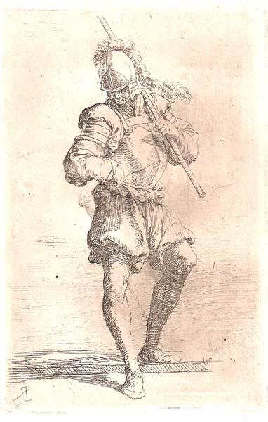 Salvator ROSA (Arenella, 1615 – 1673) – SOLDATO CHE GUARDA A TERRA CON UN BASTONE SULLA SPALLA
