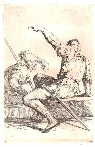 Salvator ROSA (Arenella, 1615 – 1673) – DUE SOLDATI SEDUTI IN CONVERSAZIONE