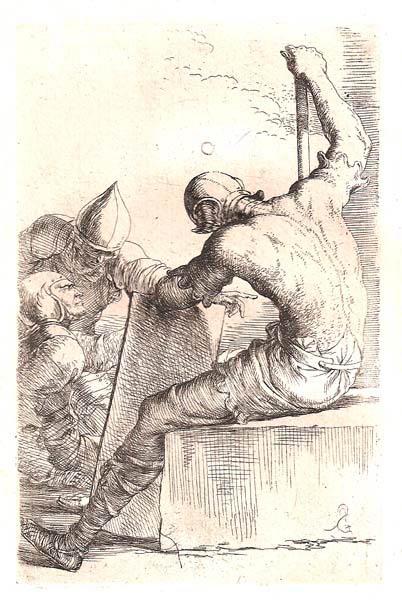 Salvator ROSA (Arenella, 1615 – 1673) – SOLDATO IN RIPOSO E DUE IN CONVERSAZIONE