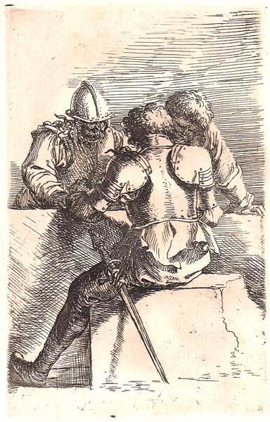 Salvator ROSA (Arenella, 1615 – 1673) – SOLDATI CHE GIOCANO ACCANTO AD UN MURO