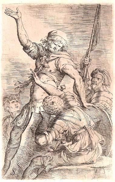 Salvator ROSA (Arenella, 1615 – 1673) – ALFIERE E TRE SOLDATI