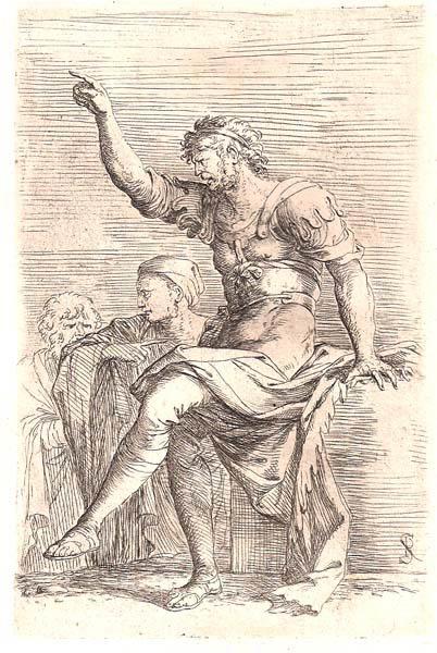 Salvator ROSA (Arenella, 1615 – 1673) – SOLDATO SEDUTO SU UN RIPIANO E DUE FIGURE