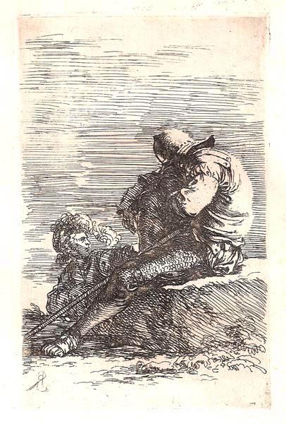 Salvator ROSA (Arenella, 1615 – 1673) – SOLDATO IN RIPOSO CON UN COMPAGNO