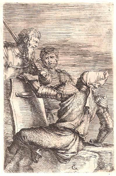 Salvator ROSA (Arenella, 1615 – 1673) – SOLDATO CON TURBANTE CONVERSA CON DUE COMPAGNI