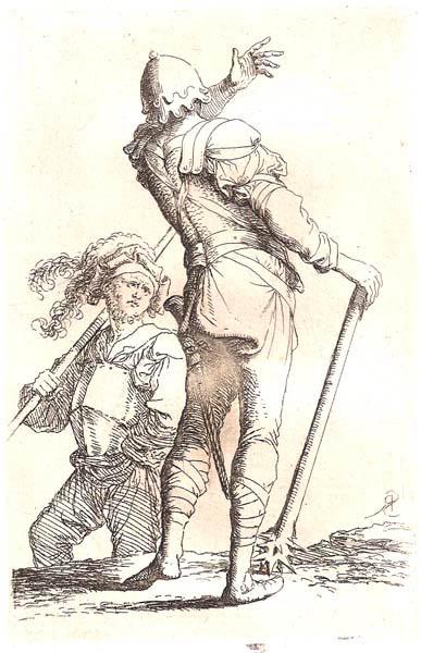 Salvator ROSA (Arenella, 1615 – 1673) – SOLDATO CON MAZZA FERRATA PARLA AD UN COMPAGNO
