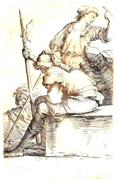 Salvator ROSA (Arenella, 1615 – 1673) – QUATTRO SOLDATI IN RIPOSO