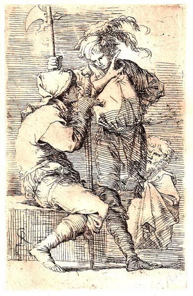Salvator ROSA (Arenella, 1615 – 1673) – DUE SOLDATI IN CONVERSAZIONE ED UN VECCHIO
