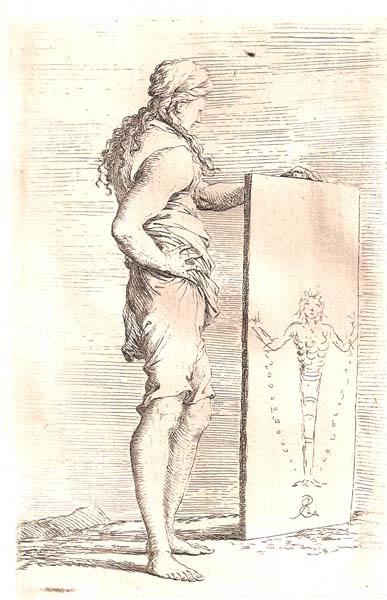 Salvator ROSA (Arenella, 1615 – 1673) – DONNA DINNANZI ALL'ERMA DI DIAN