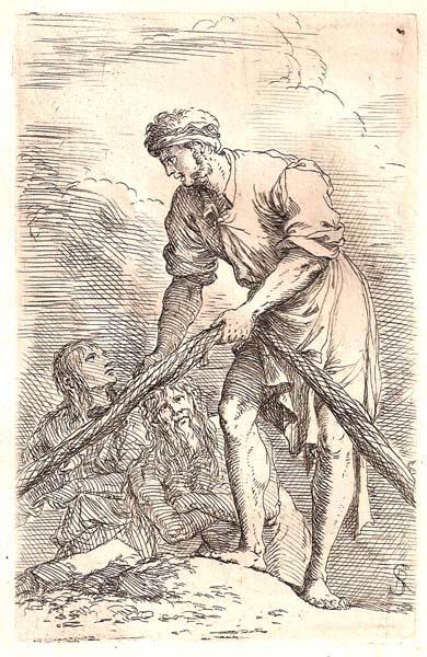 Salvator ROSA (Arenella, 1615 – 1673) – PESCATORE CHE TIRA UNA RETE E DUE FIGURE