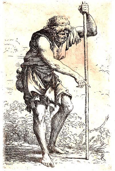 Salvator ROSA (Arenella, 1615 – 1673) – CONTADINO SCALZO CAMMINA CON UN BASTONE