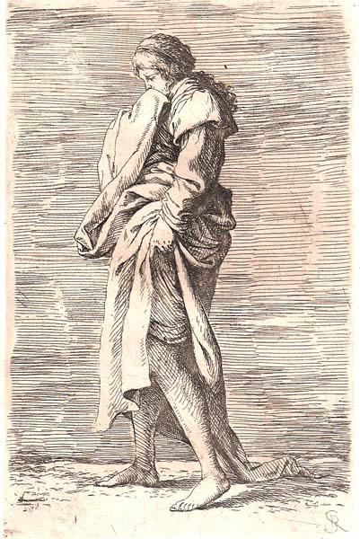 Salvator ROSA (Arenella, 1615 – 1673) – GIOVANE PENSIEROSA CAMMINA SOLLEVANDO LA VESTE