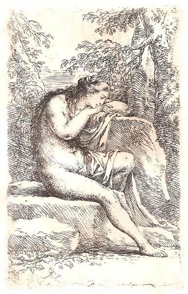 Salvator ROSA (Arenella, 1615 – 1673) – DONNA NUDA IN MEDITAZIONE