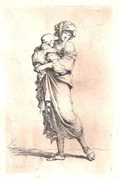 Salvator ROSA (Arenella, 1615 – 1673) – MADRE CON IL BAMBINO IN BRACCIO