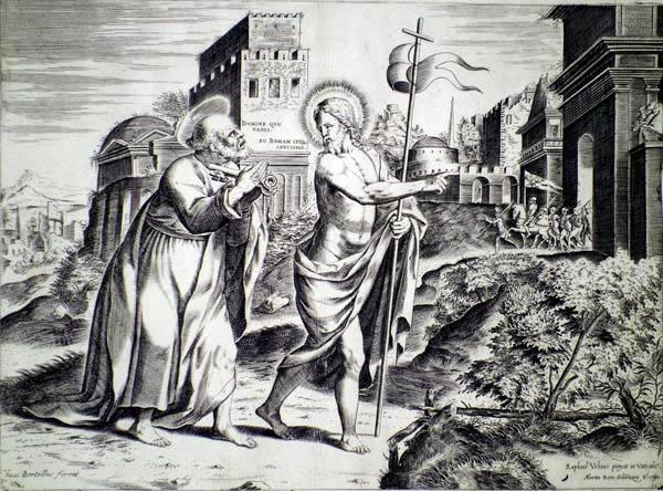 Martino ROTA (Sebenico, 1520 – 1583) – S. PIETRO INCONTRA CRISTO SULLA VIA DI ROMA da Raffaello