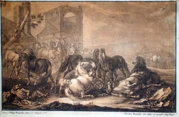 Christian Johann RUGENDAS (Baviera, 1708 – 1781) – GRUPPO DI CAVALLI da G.P. Rugendas