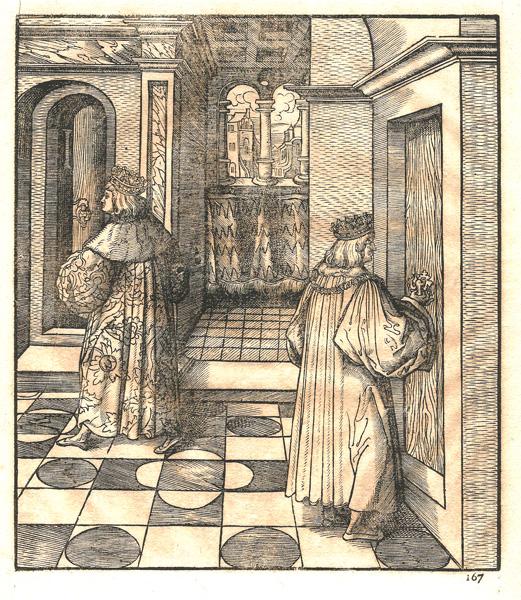 Leonhard BECK (Baviera, circa 1480 – 1542) – IL RE BLU ED IL RE BIANCO ROMPONO L'ALLEANZA