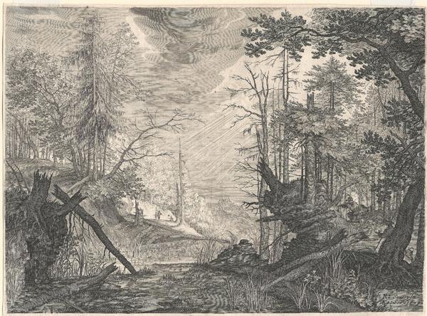 Aegidius SADELER (Fiandre, 1570 – 1629) – TRE CACCIATORI E DUE CANI VICINI AD UNO STAGNO