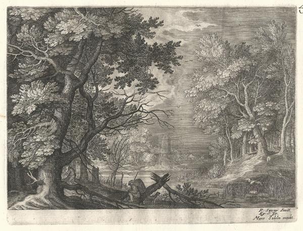 Aegidius SADELER (Fiandre, 1570 – 1629) – SCENA NELLA FORESTA CON FIUME E ALBERO SPEZZATO