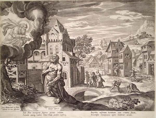 Ian SADELER (Fiandre, 1550 – 1600) – DIO APPARE A NOE