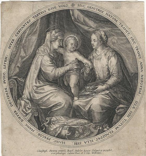 Raphael SADELER (Fiandre, circa 1560 – circa 1628) – VERGINE CON BAMBINO E SANT'ANNA da C. Schwarz (1620 circa)