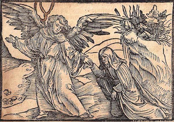 Hans Leonhard SCHAUFELEIN (Norimberga, circa 1490 – circa 1540) – UN ANGELO GUIDA UNA MONACA (1512)