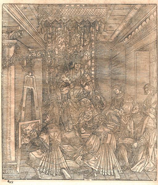 Hans SPRINGINKLEE (Norimberga, attivo 1512 – 1522) – L'IMPERATORE ONORA I SUOI ANTENATI