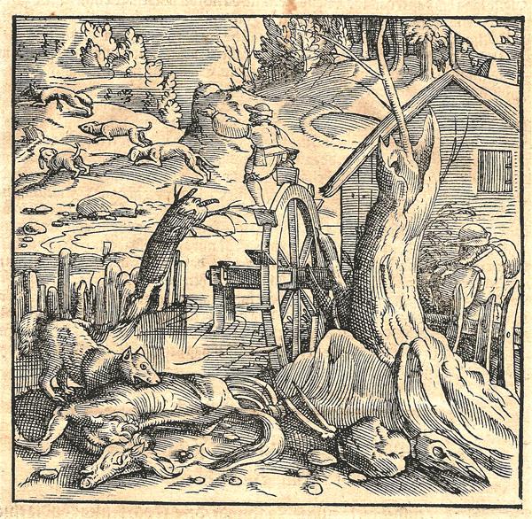 Tobias STIMMER (Germania, 1539 – 1584) – CACCIATORE VICINO AD UN MULINO